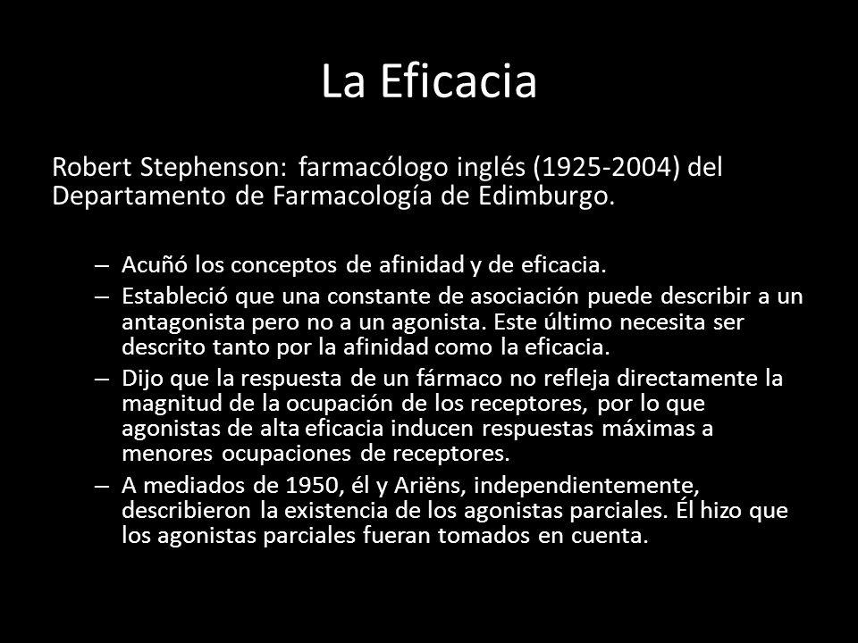 La Eficacia Robert Stephenson: farmacólogo inglés (1925-2004) del Departamento de Farmacología de Edimburgo. – Acuñó los conceptos de afinidad y de ef