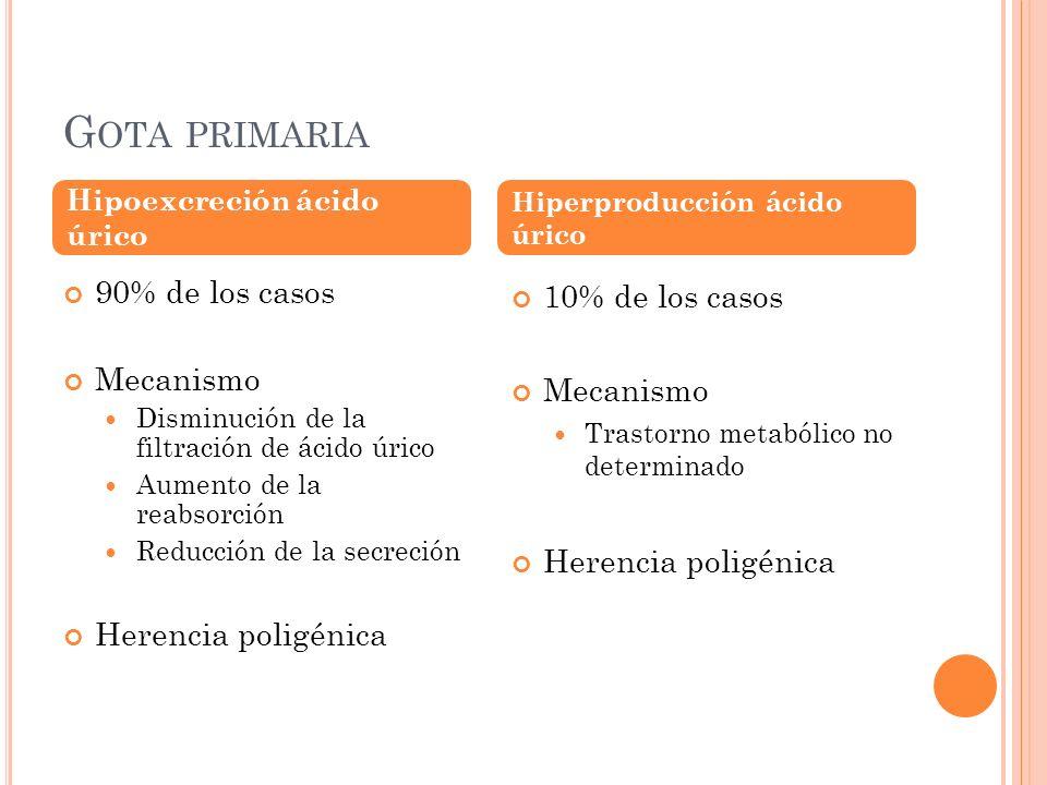 G OTA PRIMARIA 90% de los casos Mecanismo Disminución de la filtración de ácido úrico Aumento de la reabsorción Reducción de la secreción Herencia pol