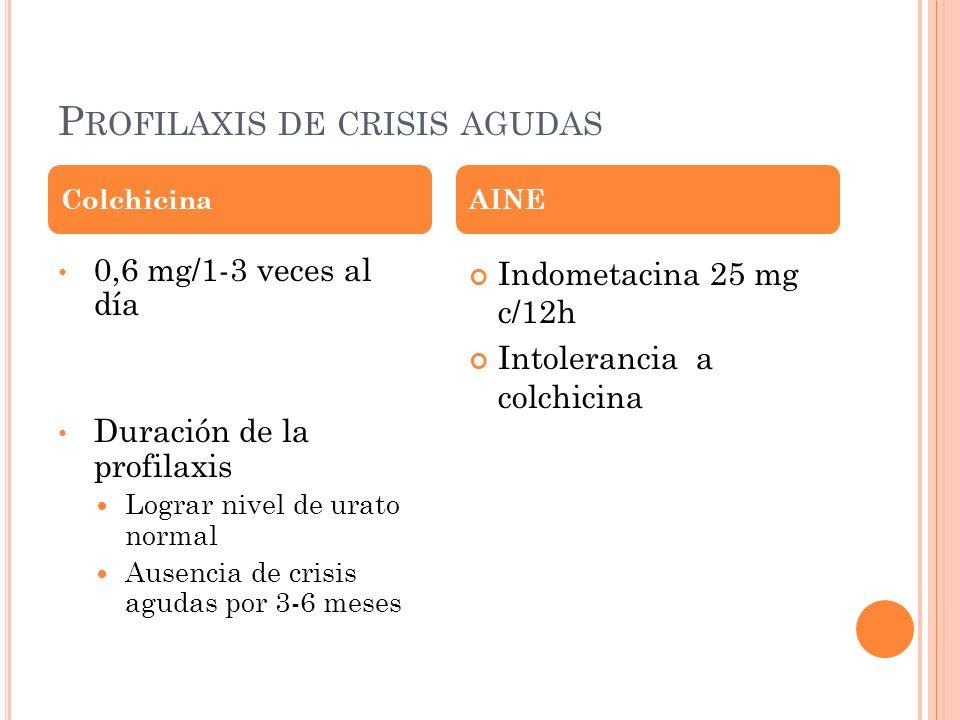P ROFILAXIS DE CRISIS AGUDAS 0,6 mg/1-3 veces al día Duración de la profilaxis Lograr nivel de urato normal Ausencia de crisis agudas por 3-6 meses In