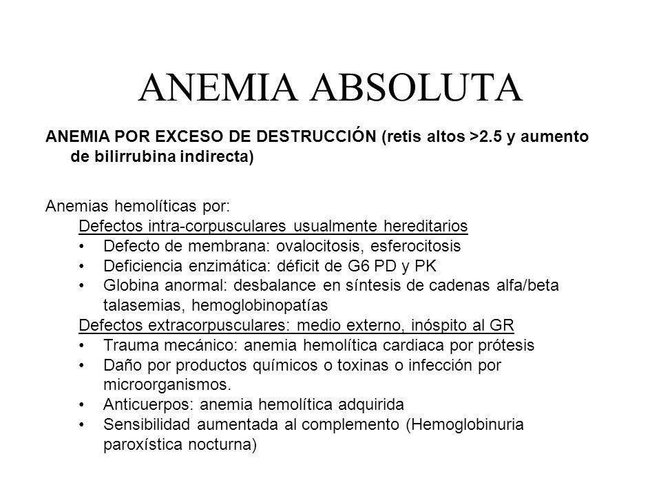 ANEMIA ABSOLUTA ANEMIA POR EXCESO DE DESTRUCCIÓN (retis altos >2.5 y aumento de bilirrubina indirecta) Anemias hemolíticas por: Defectos intra-corpusc