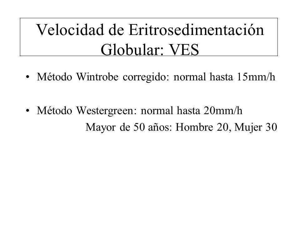 Velocidad de Eritrosedimentación Globular: VES Método Wintrobe corregido: normal hasta 15mm/h Método Westergreen: normal hasta 20mm/h Mayor de 50 años