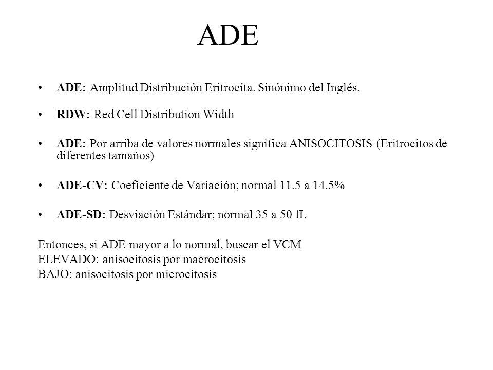 ADE ADE: Amplitud Distribución Eritrocíta. Sinónimo del Inglés. RDW: Red Cell Distribution Width ADE: Por arriba de valores normales significa ANISOCI