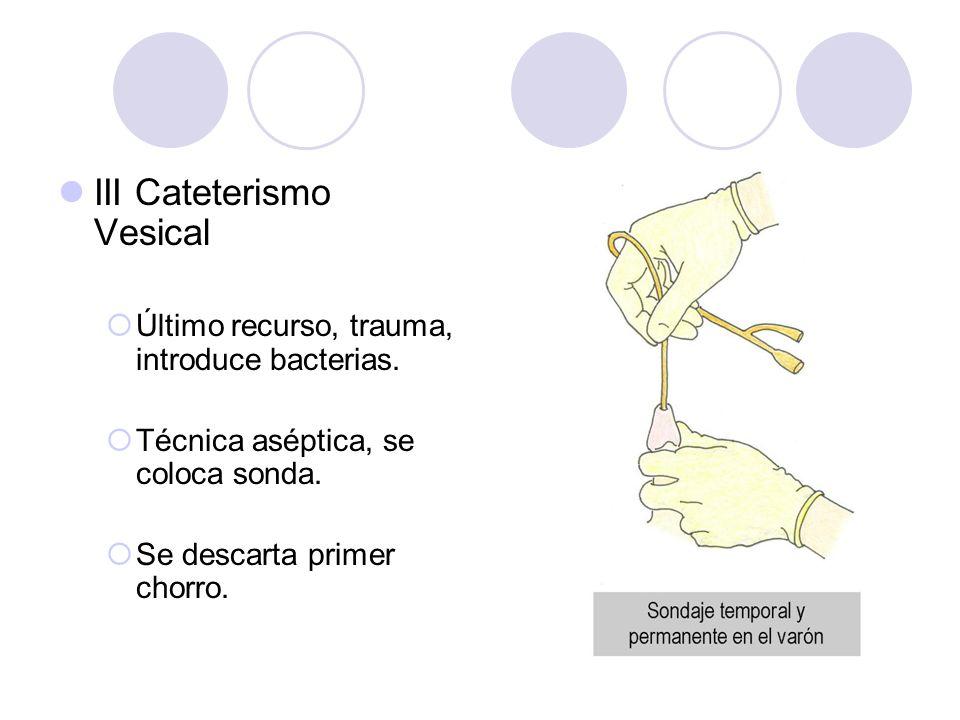 III Cateterismo Vesical Último recurso, trauma, introduce bacterias. Técnica aséptica, se coloca sonda. Se descarta primer chorro.
