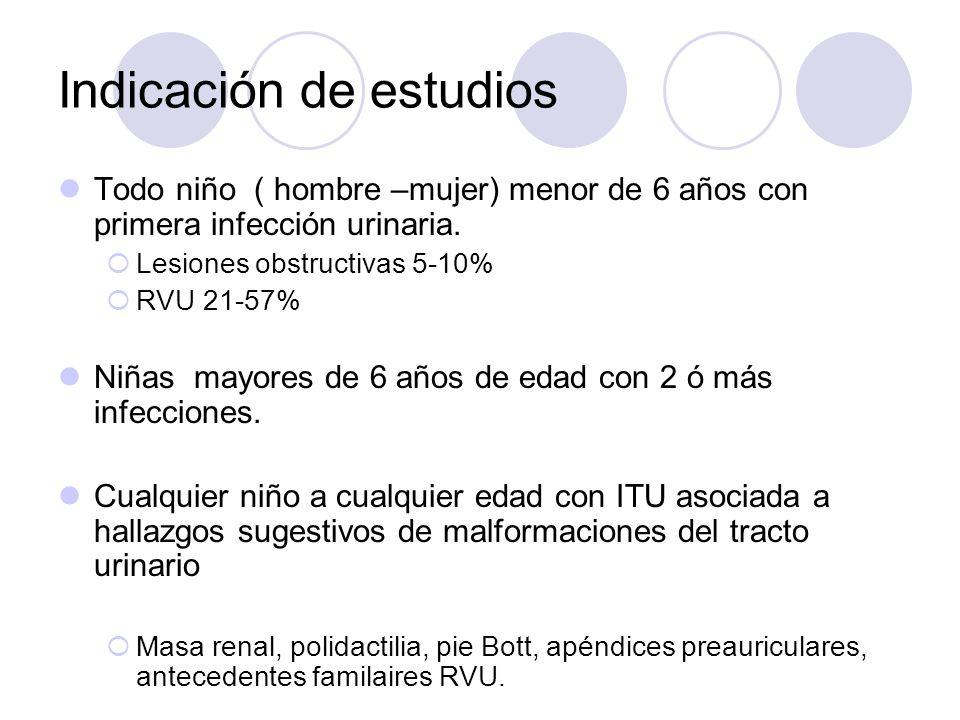 Indicación de estudios Todo niño ( hombre –mujer) menor de 6 años con primera infección urinaria. Lesiones obstructivas 5-10% RVU 21-57% Niñas mayores