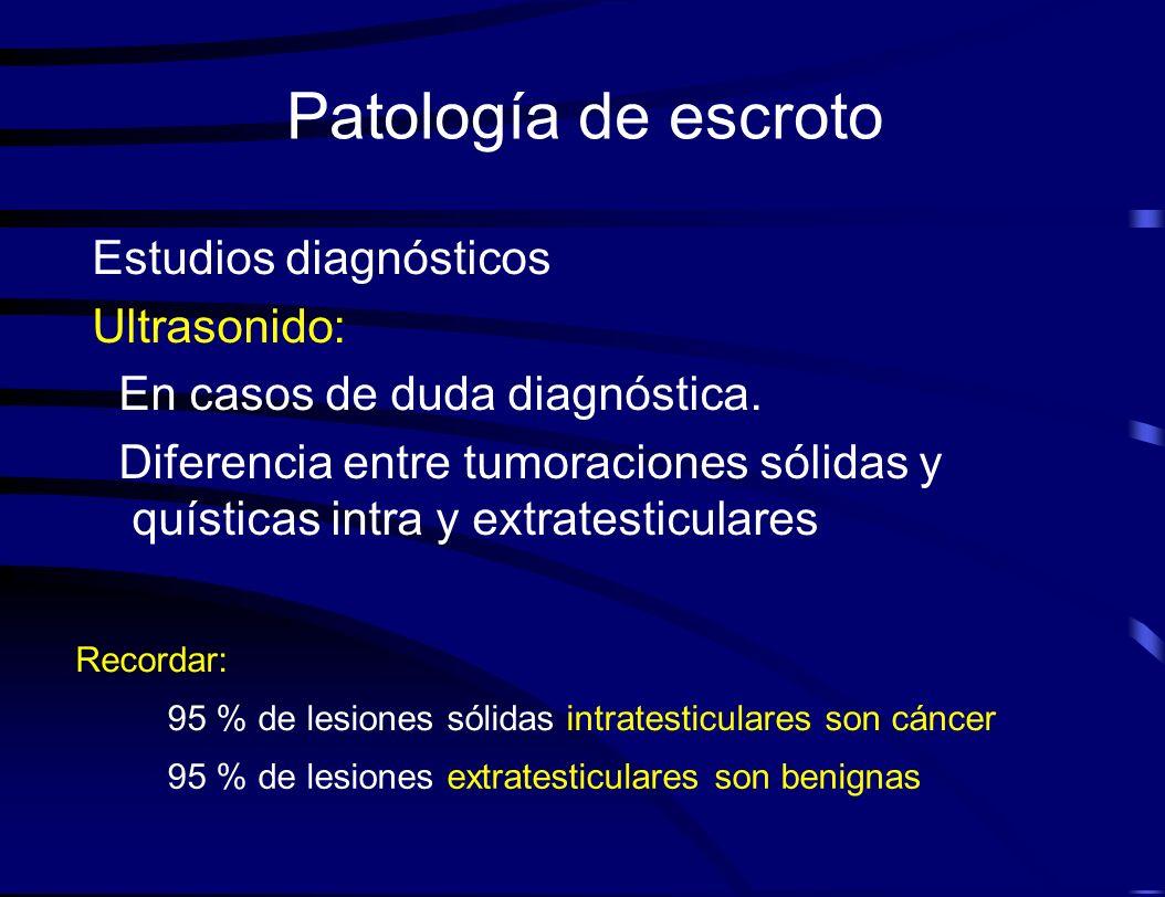 Patología de escroto Estudios diagnósticos Ultrasonido: En casos de duda diagnóstica. Diferencia entre tumoraciones sólidas y quísticas intra y extrat