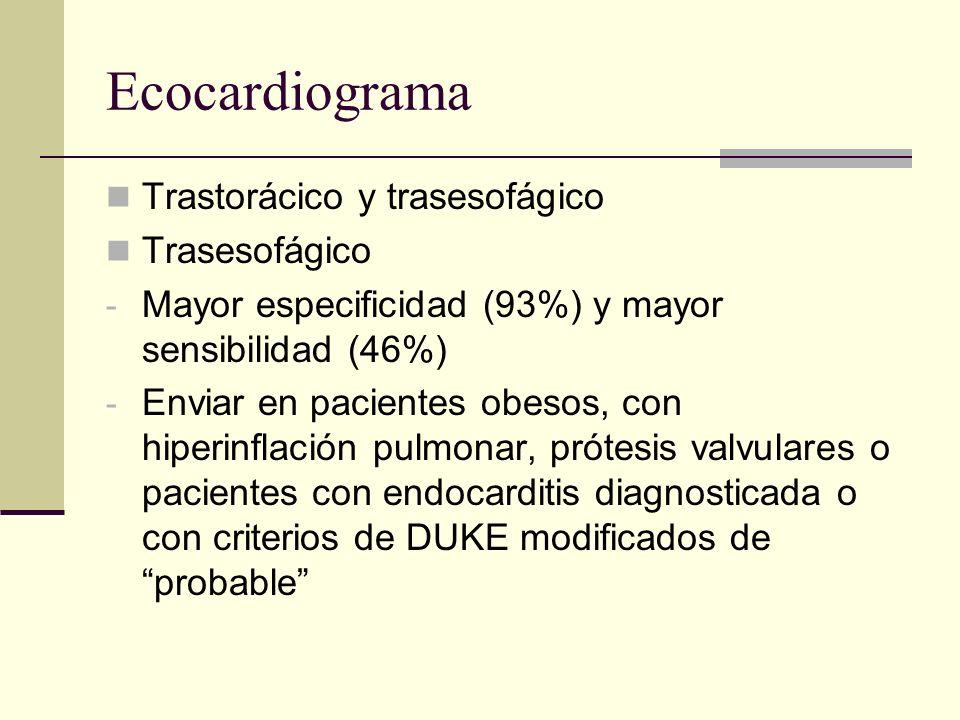 Ecocardiograma Trastorácico y trasesofágico Trasesofágico - Mayor especificidad (93%) y mayor sensibilidad (46%) - Enviar en pacientes obesos, con hip