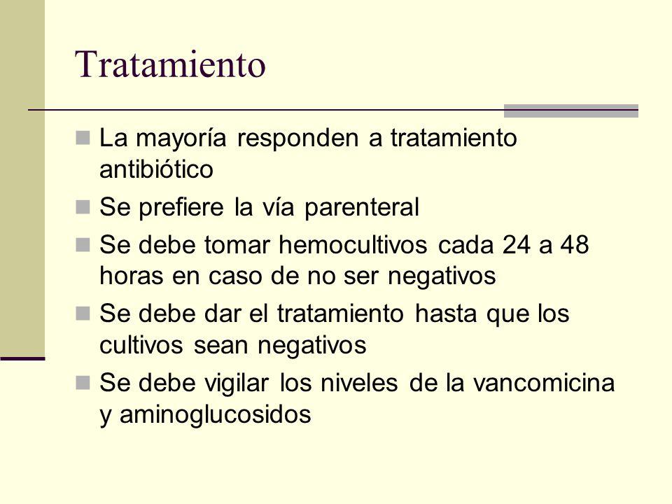 La mayoría responden a tratamiento antibiótico Se prefiere la vía parenteral Se debe tomar hemocultivos cada 24 a 48 horas en caso de no ser negativos