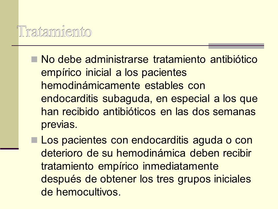 No debe administrarse tratamiento antibiótico empírico inicial a los pacientes hemodinámicamente estables con endocarditis subaguda, en especial a los