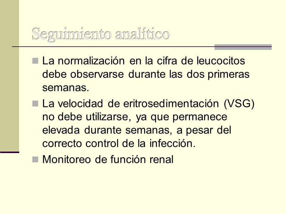 La normalización en la cifra de leucocitos debe observarse durante las dos primeras semanas. La velocidad de eritrosedimentación (VSG) no debe utiliza