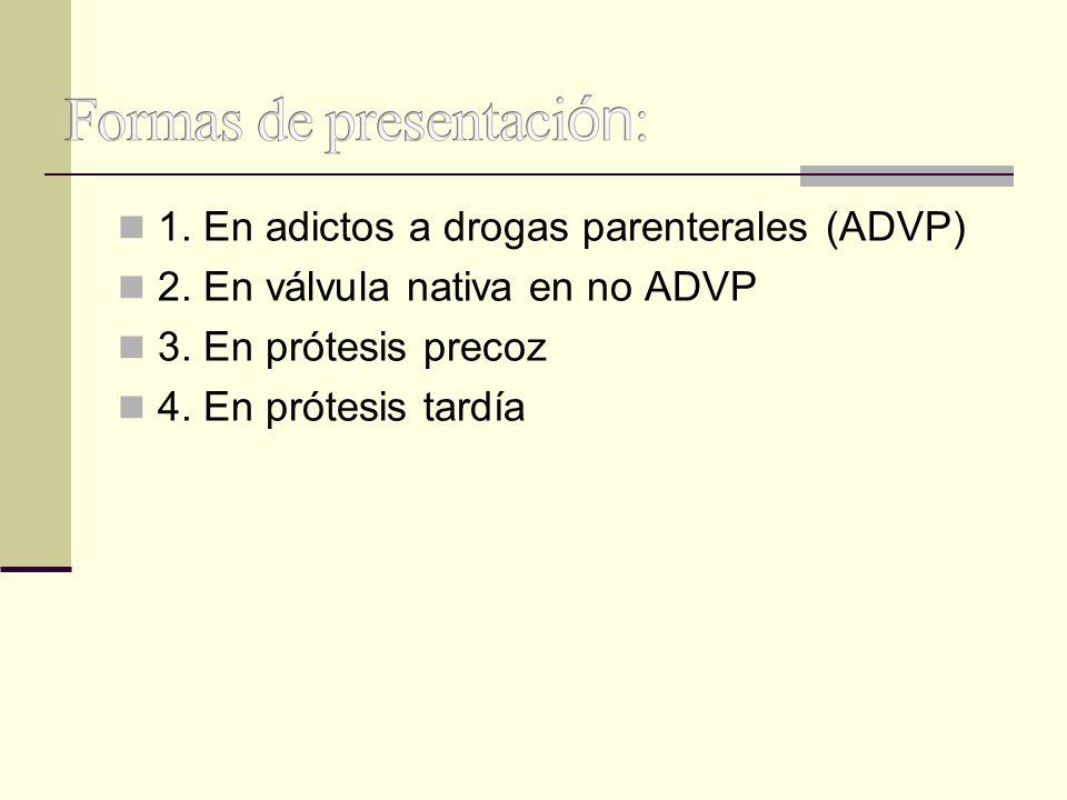 1. En adictos a drogas parenterales (ADVP) 2. En válvula nativa en no ADVP 3. En prótesis precoz 4. En prótesis tardía