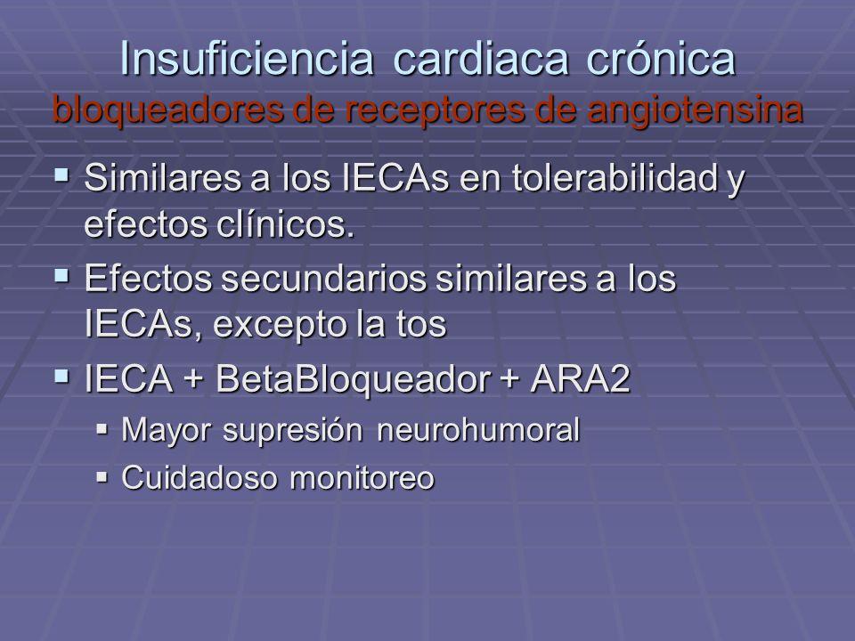 Insuficiencia cardiaca crónica bloqueadores de receptores de angiotensina Similares a los IECAs en tolerabilidad y efectos clínicos. Similares a los I