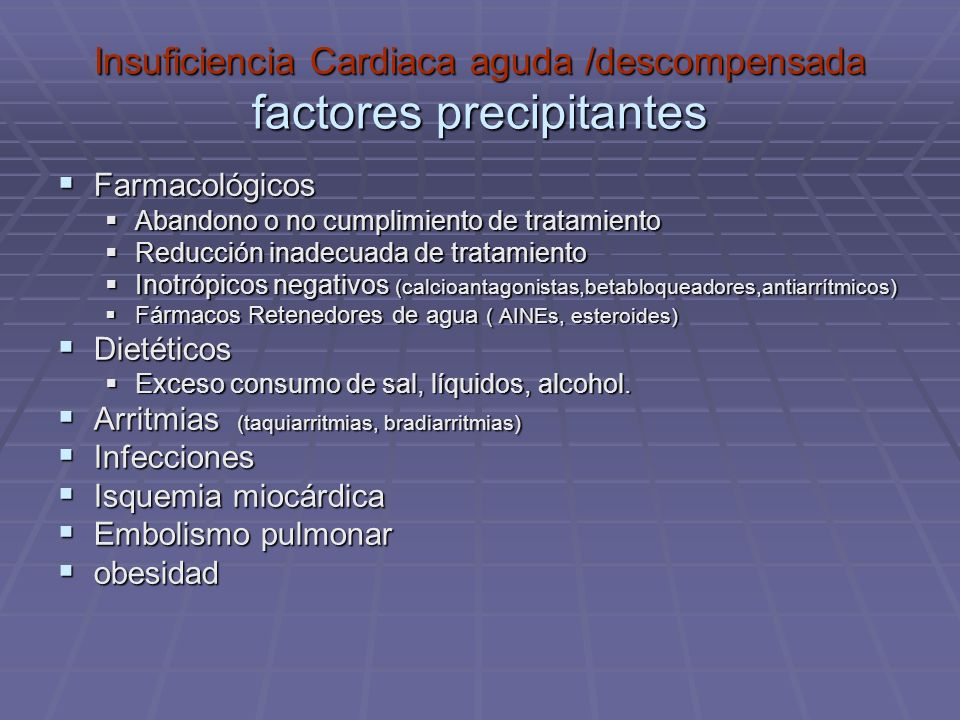 Insuficiencia Cardiaca aguda /descompensada factores precipitantes Farmacológicos Farmacológicos Abandono o no cumplimiento de tratamiento Abandono o