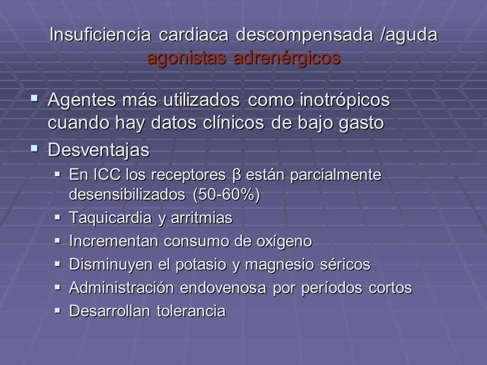 Insuficiencia cardiaca descompensada /aguda agonistas adrenérgicos Agentes más utilizados como inotrópicos cuando hay datos clínicos de bajo gasto Age