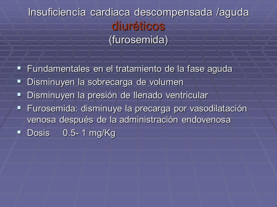 Insuficiencia cardiaca descompensada /aguda diuréticos (furosemida) Fundamentales en el tratamiento de la fase aguda Fundamentales en el tratamiento d