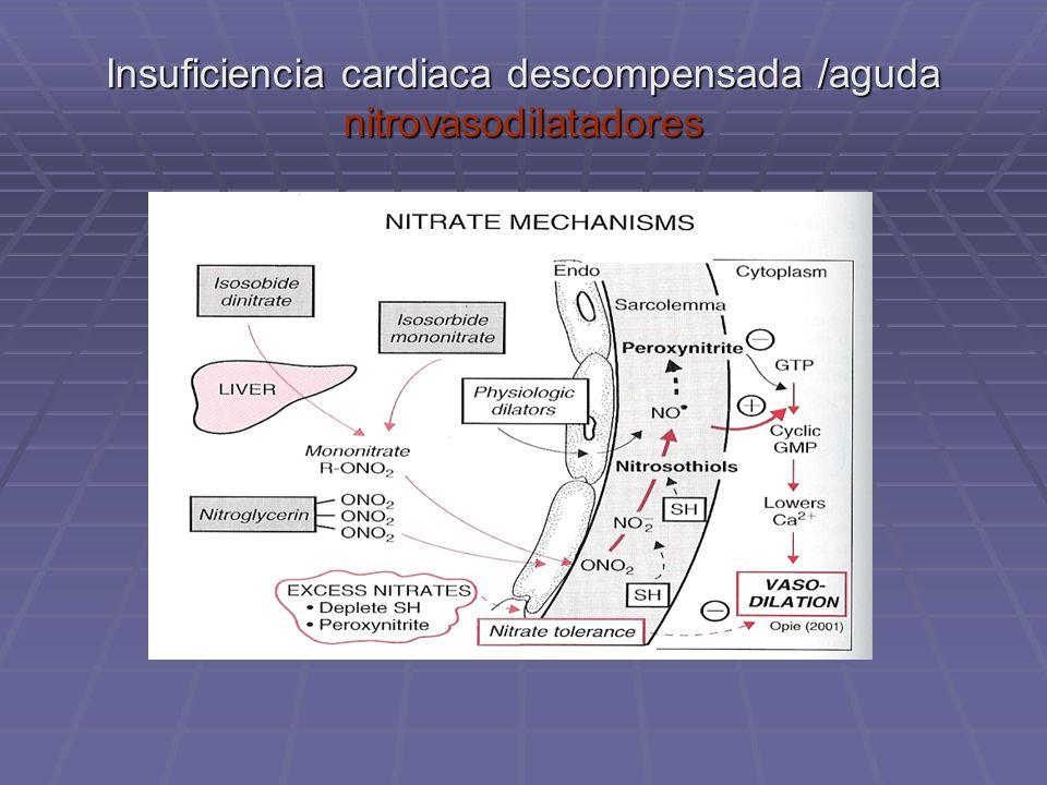 Insuficiencia cardiaca descompensada /aguda nitrovasodilatadores