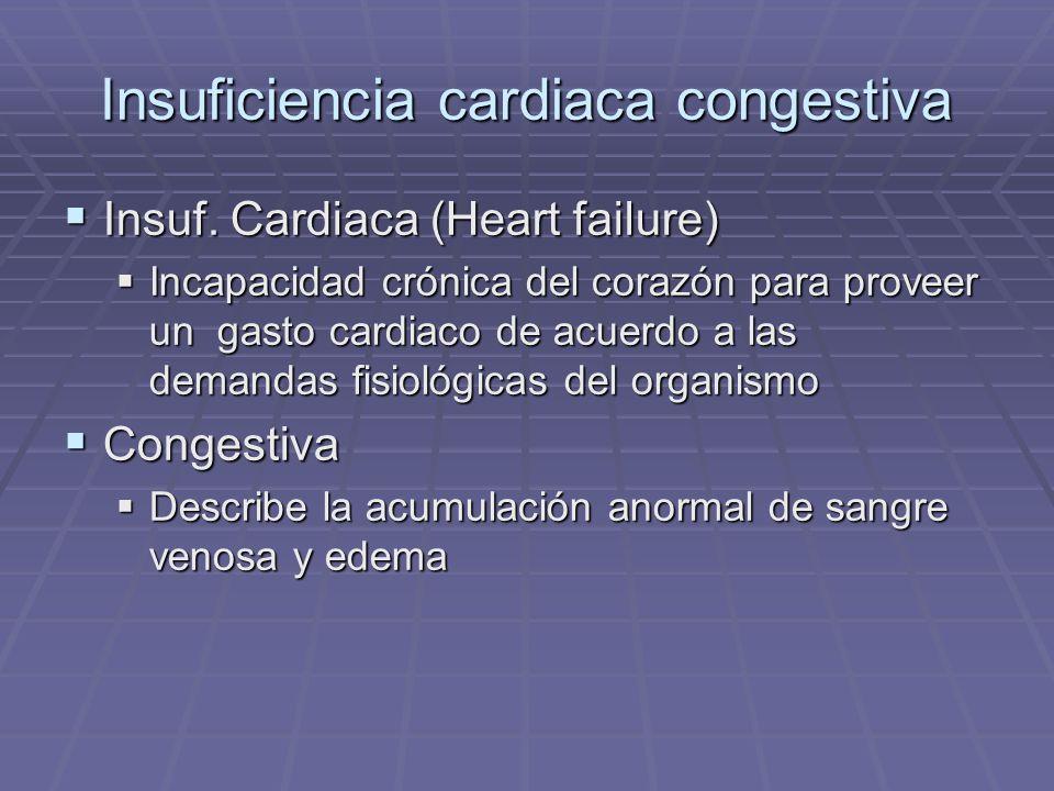 Insuficiencia cardiaca congestiva Insuf. Cardiaca (Heart failure) Insuf. Cardiaca (Heart failure) Incapacidad crónica del corazón para proveer un gast