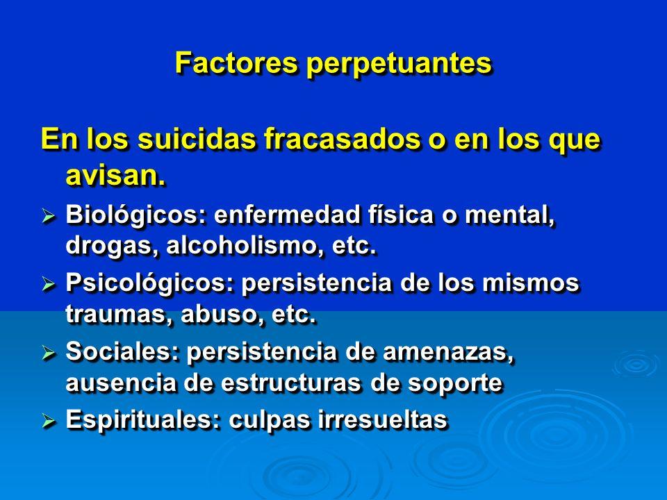 Factores perpetuantes En los suicidas fracasados o en los que avisan.