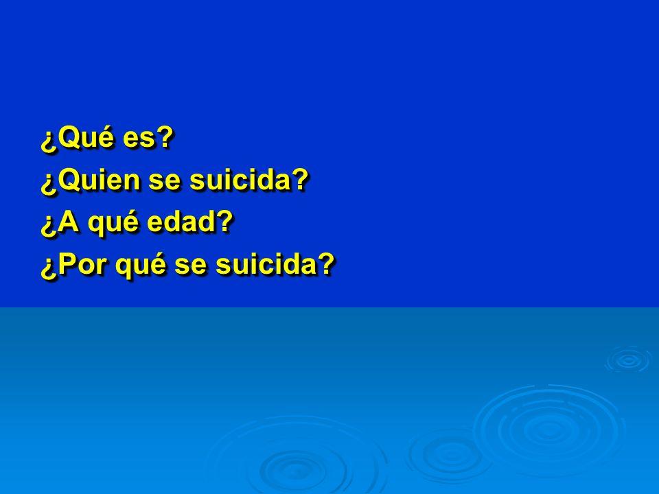 ¿Qué es. ¿Quien se suicida. ¿A qué edad. ¿Por qué se suicida.