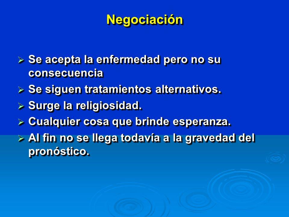 NegociaciónNegociación Se acepta la enfermedad pero no su consecuencia Se acepta la enfermedad pero no su consecuencia Se siguen tratamientos alternativos.