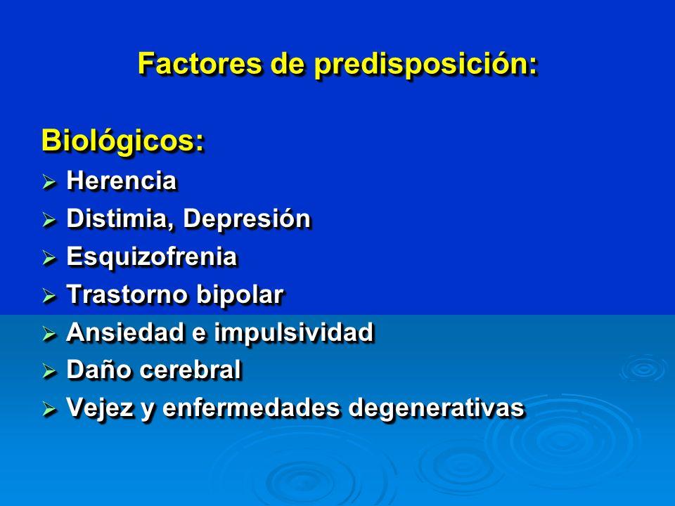 Factores de predisposición: Biológicos: Herencia Herencia Distimia, Depresión Distimia, Depresión Esquizofrenia Esquizofrenia Trastorno bipolar Trastorno bipolar Ansiedad e impulsividad Ansiedad e impulsividad Daño cerebral Daño cerebral Vejez y enfermedades degenerativas Vejez y enfermedades degenerativasBiológicos: Herencia Herencia Distimia, Depresión Distimia, Depresión Esquizofrenia Esquizofrenia Trastorno bipolar Trastorno bipolar Ansiedad e impulsividad Ansiedad e impulsividad Daño cerebral Daño cerebral Vejez y enfermedades degenerativas Vejez y enfermedades degenerativas