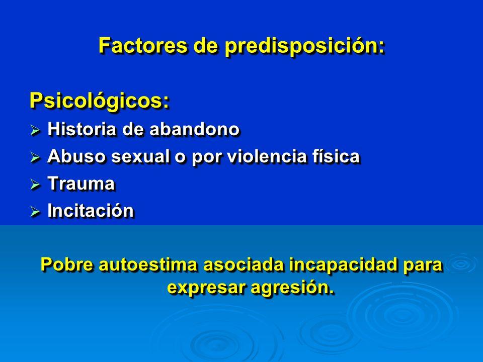 Factores de predisposición: Psicológicos: Historia de abandono Historia de abandono Abuso sexual o por violencia física Abuso sexual o por violencia física Trauma Trauma Incitación Incitación Pobre autoestima asociada incapacidad para expresar agresión.