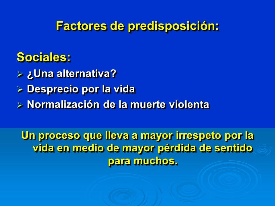 Factores de predisposición: Espirituales: La valoración de lo espiritual conlleva la relativización del sufrimiento y el fracaso en lo temporal.