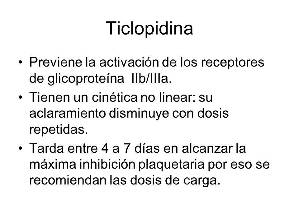 Ticlopidina Previene la activación de los receptores de glicoproteína IIb/IIIa. Tienen un cinética no linear: su aclaramiento disminuye con dosis repe