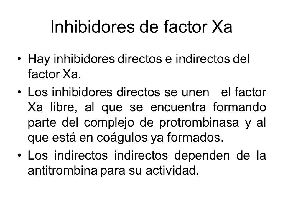 Inhibidores de factor Xa Hay inhibidores directos e indirectos del factor Xa. Los inhibidores directos se unen el factor Xa libre, al que se encuentra