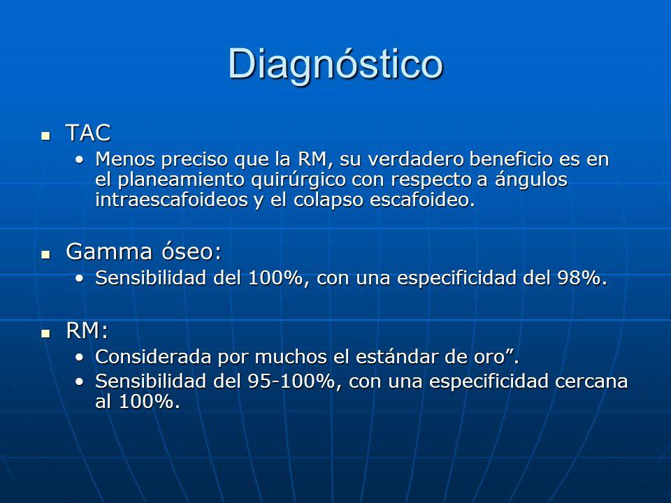 Diagnóstico TAC TAC Menos preciso que la RM, su verdadero beneficio es en el planeamiento quirúrgico con respecto a ángulos intraescafoideos y el colapso escafoideo.Menos preciso que la RM, su verdadero beneficio es en el planeamiento quirúrgico con respecto a ángulos intraescafoideos y el colapso escafoideo.