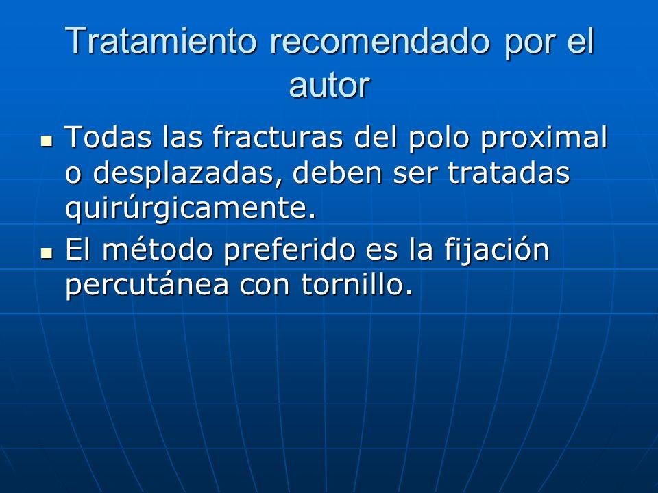 Tratamiento recomendado por el autor Todas las fracturas del polo proximal o desplazadas, deben ser tratadas quirúrgicamente. Todas las fracturas del