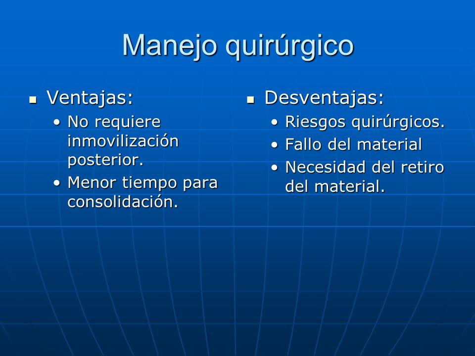 Manejo quirúrgico Ventajas: Ventajas: No requiere inmovilización posterior.No requiere inmovilización posterior. Menor tiempo para consolidación.Menor