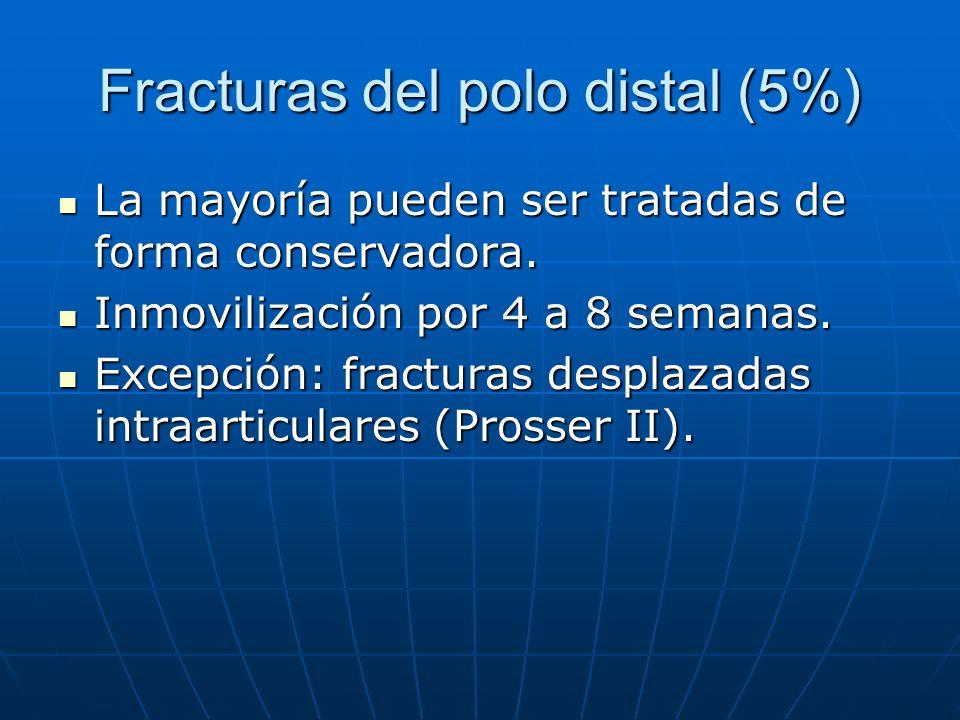 Fracturas del polo distal (5%) La mayoría pueden ser tratadas de forma conservadora. La mayoría pueden ser tratadas de forma conservadora. Inmovilizac