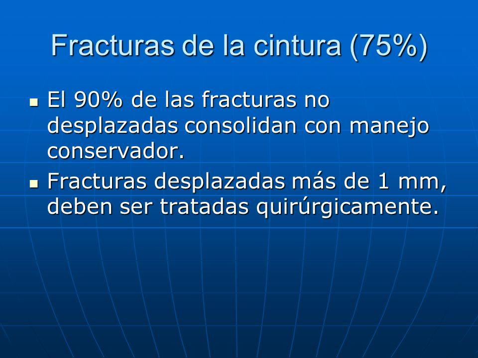 Fracturas de la cintura (75%) El 90% de las fracturas no desplazadas consolidan con manejo conservador. El 90% de las fracturas no desplazadas consoli