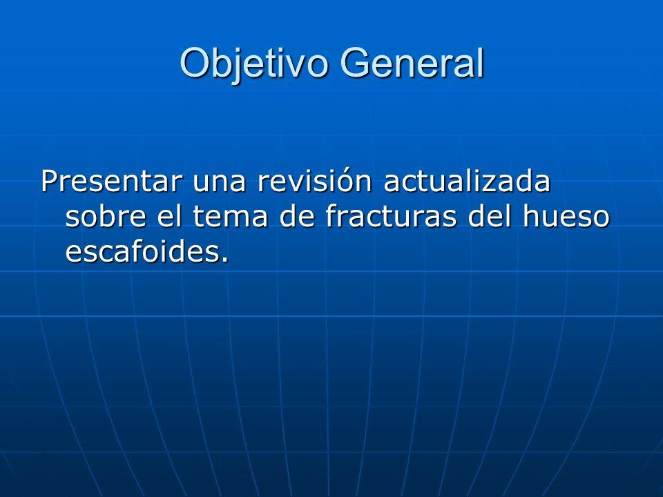 Objetivo General Presentar una revisión actualizada sobre el tema de fracturas del hueso escafoides.
