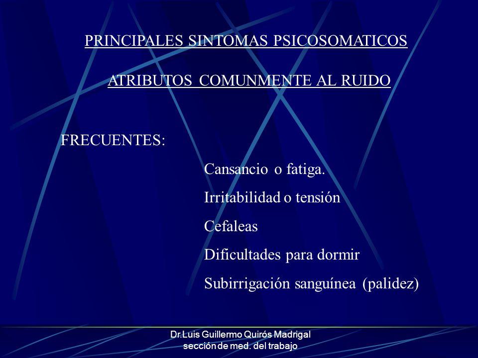 Dr.Luis Guillermo Quirós Madrigal sección de med. del trabajo PRINCIPALES SINTOMAS PSICOSOMATICOS ATRIBUTOS COMUNMENTE AL RUIDO FRECUENTES: Cansancio