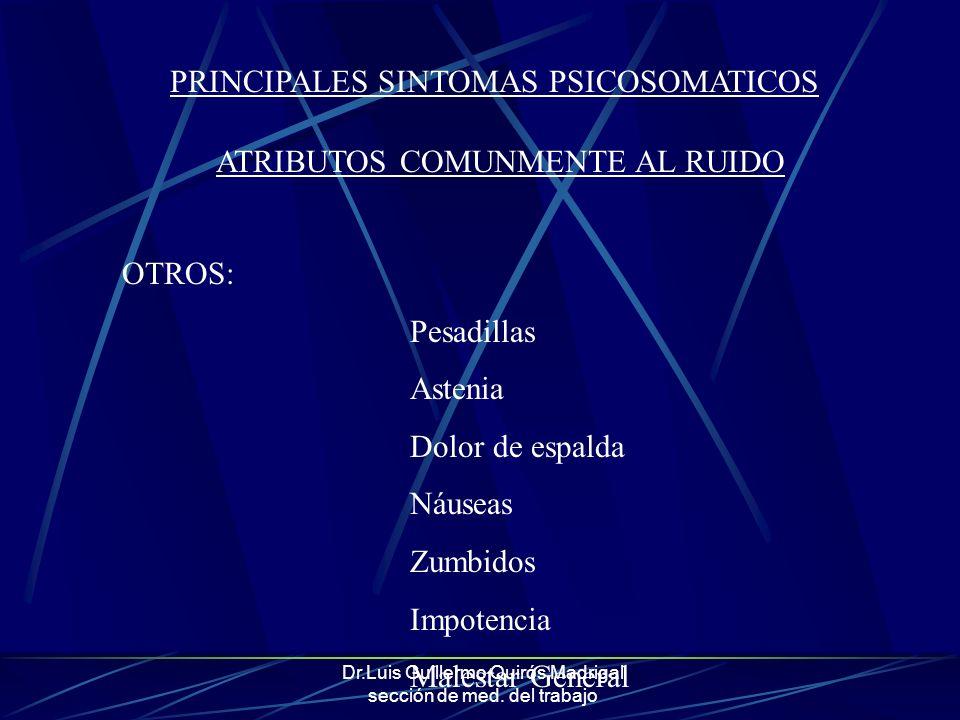 Dr.Luis Guillermo Quirós Madrigal sección de med. del trabajo OTROS: Pesadillas Astenia Dolor de espalda Náuseas Zumbidos Impotencia Malestar General