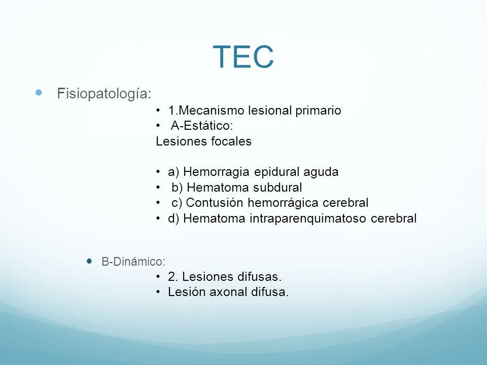 TEC Fisiopatología: 1.Mecanismo lesional primario A-Estático: Lesiones focales a) Hemorragia epidural aguda b) Hematoma subdural c) Contusión hemorrág