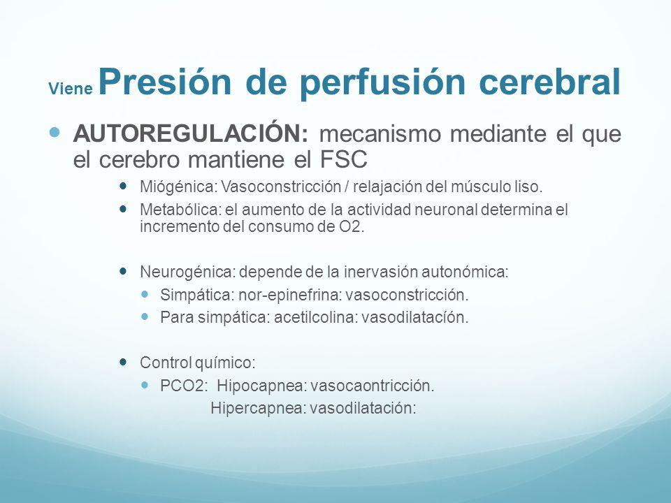 Viene Presión de perfusión cerebral AUTOREGULACIÓN: mecanismo mediante el que el cerebro mantiene el FSC Miógénica: Vasoconstricción / relajación del