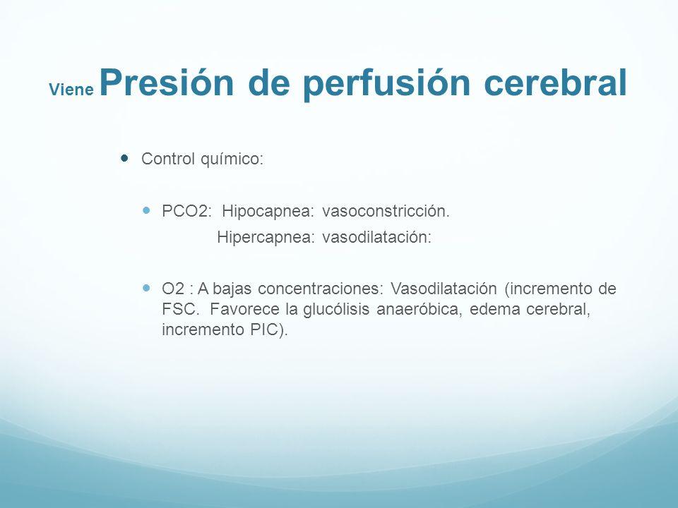 Viene Presión de perfusión cerebral Control químico: PCO2: Hipocapnea: vasoconstricción. Hipercapnea: vasodilatación: O2 : A bajas concentraciones: Va