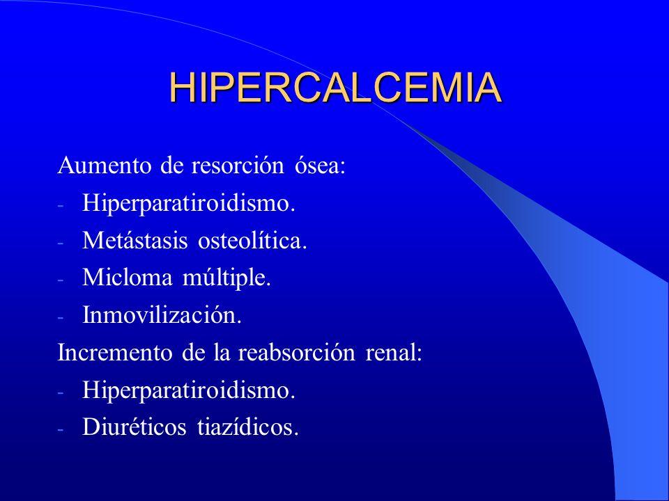HIPERCALCEMIA Aumento de resorción ósea: - Hiperparatiroidismo. - Metástasis osteolítica. - Micloma múltiple. - Inmovilización. Incremento de la reabs
