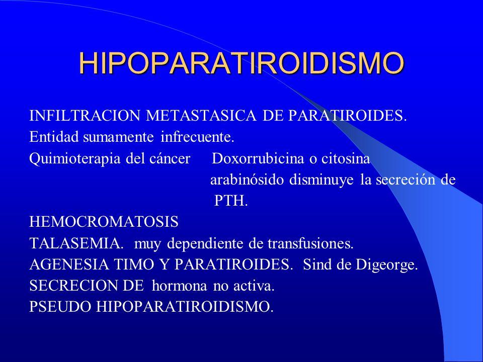 HIPOPARATIROIDISMO INFILTRACION METASTASICA DE PARATIROIDES. Entidad sumamente infrecuente. Quimioterapia del cáncer Doxorrubicina o citosina arabinós