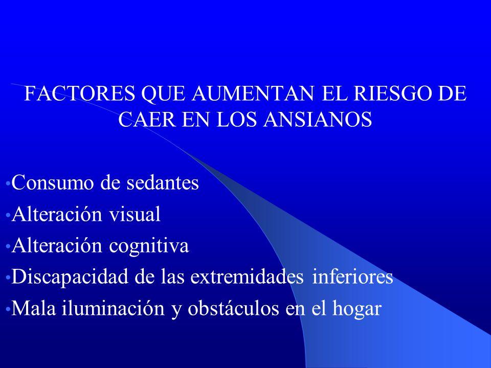 FACTORES QUE AUMENTAN EL RIESGO DE CAER EN LOS ANSIANOS Consumo de sedantes Alteración visual Alteración cognitiva Discapacidad de las extremidades in