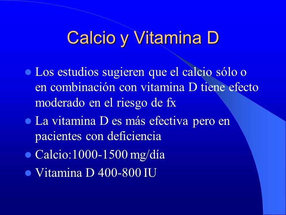 Calcio y Vitamina D Los estudios sugieren que el calcio sólo o en combinación con vitamina D tiene efecto moderado en el riesgo de fx La vitamina D es