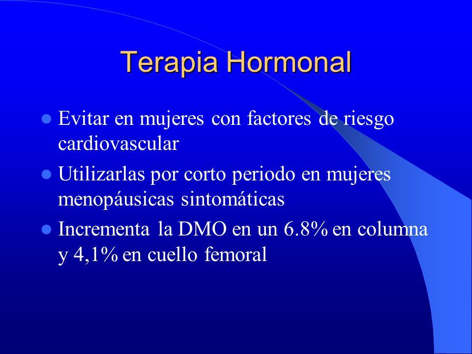 Terapia Hormonal Evitar en mujeres con factores de riesgo cardiovascular Utilizarlas por corto periodo en mujeres menopáusicas sintomáticas Incrementa