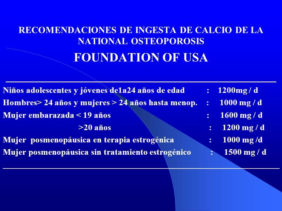RECOMENDACIONES DE INGESTA DE CALCIO DE LA NATIONAL OSTEOPOROSIS FOUNDATION OF USA ___________________________________________ Niños adolescentes y jó