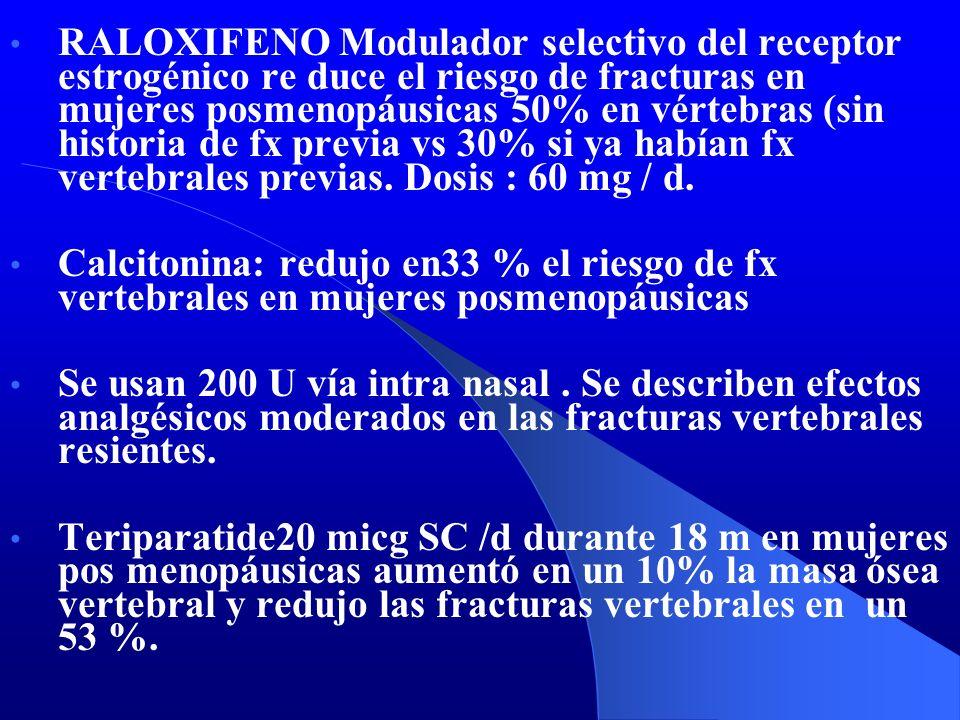 RALOXIFENO Modulador selectivo del receptor estrogénico re duce el riesgo de fracturas en mujeres posmenopáusicas 50% en vértebras (sin historia de fx