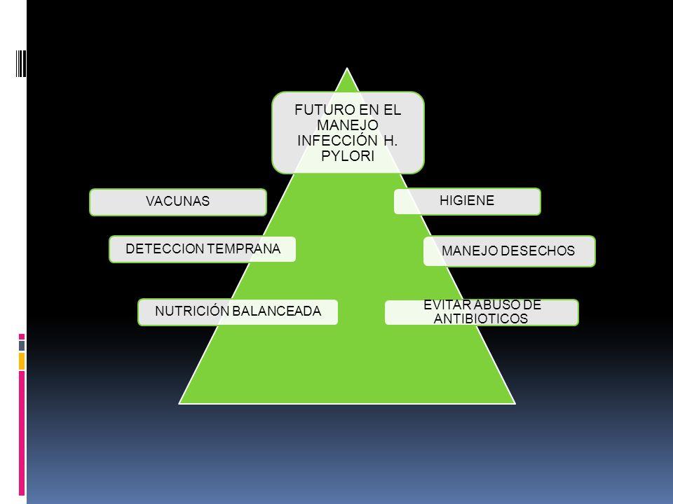 FUTURO EN EL MANEJO INFECCIÓN H. PYLORI HIGIENEVACUNASDETECCION TEMPRANA MANEJO DESECHOS NUTRICIÓN BALANCEADA EVITAR ABUSO DE ANTIBIOTICOS