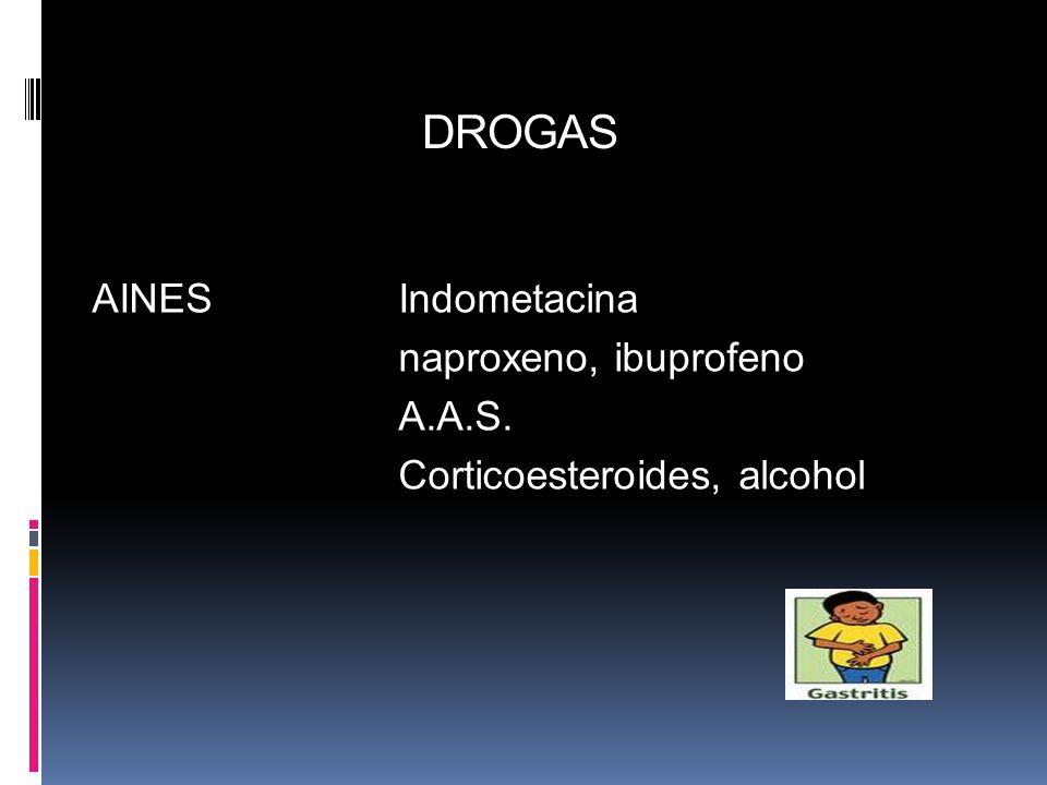 DROGAS AINESIndometacina naproxeno, ibuprofeno A.A.S. Corticoesteroides, alcohol