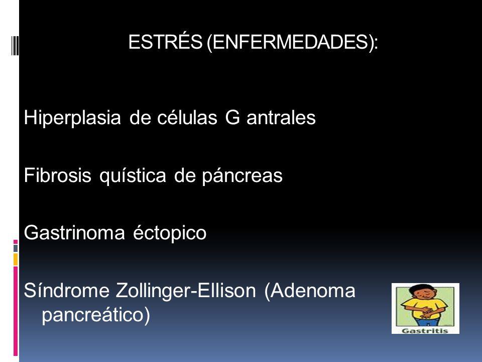 ESTRÉS (ENFERMEDADES): Hiperplasia de células G antrales Fibrosis quística de páncreas Gastrinoma éctopico Síndrome Zollinger-Ellison (Adenoma pancreá