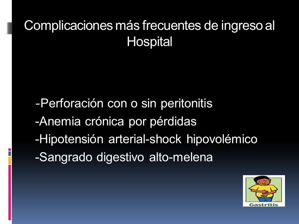 Complicaciones más frecuentes de ingreso al Hospital - Perforación con o sin peritonitis -Anemia crónica por pérdidas -Hipotensión arterial-shock hipo